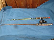 2 ancienne canne à pêche  bambou refendu PEZON et  MICHEL moulinet  mitchell