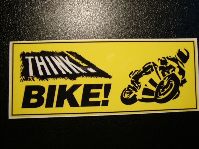 2  THINK BIKE CAR BUMPER STICKERS MOTORBIKE HELMET STICKERS IOM TT SUZUKI HONDA