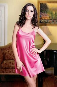 Sexy Satin Chemise Slip - nightgown lingerie - Red, White, Black, Pink, Lavender