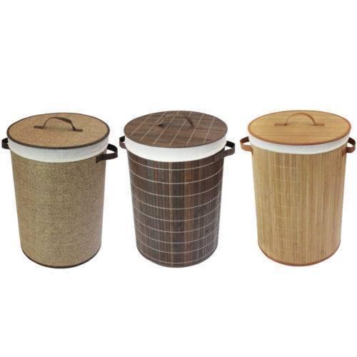 100% bambù naturale Marronee carta Cesto per biancheria, pieghevole rotonda Lino Bin