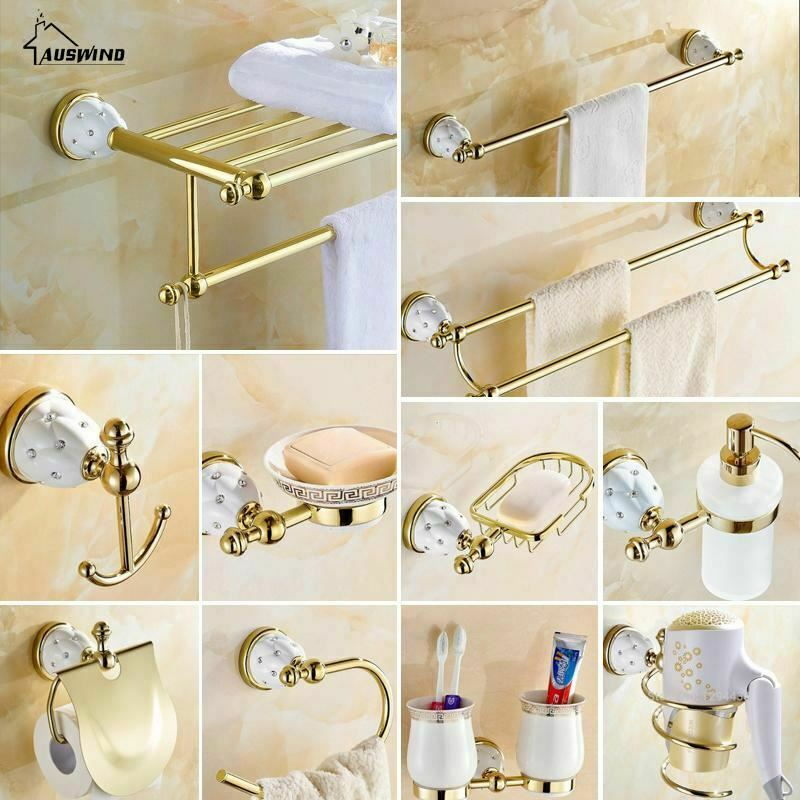 Diamond Stars Bathroom Accessories Sets Crystal Brass Gold Bathroom Hardware Set