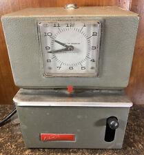 Working Lathem Used Model Mechanical Time Clock Recorder No Key Electric 115v