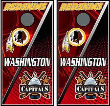 Redskind & Wash Capitals split 0203 Custom Cornhole board decal wraps skins