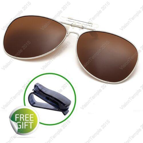 Polarized Mirror Lens Flip-Up Clip On Sunglasses Wear Over Prescription Glasses