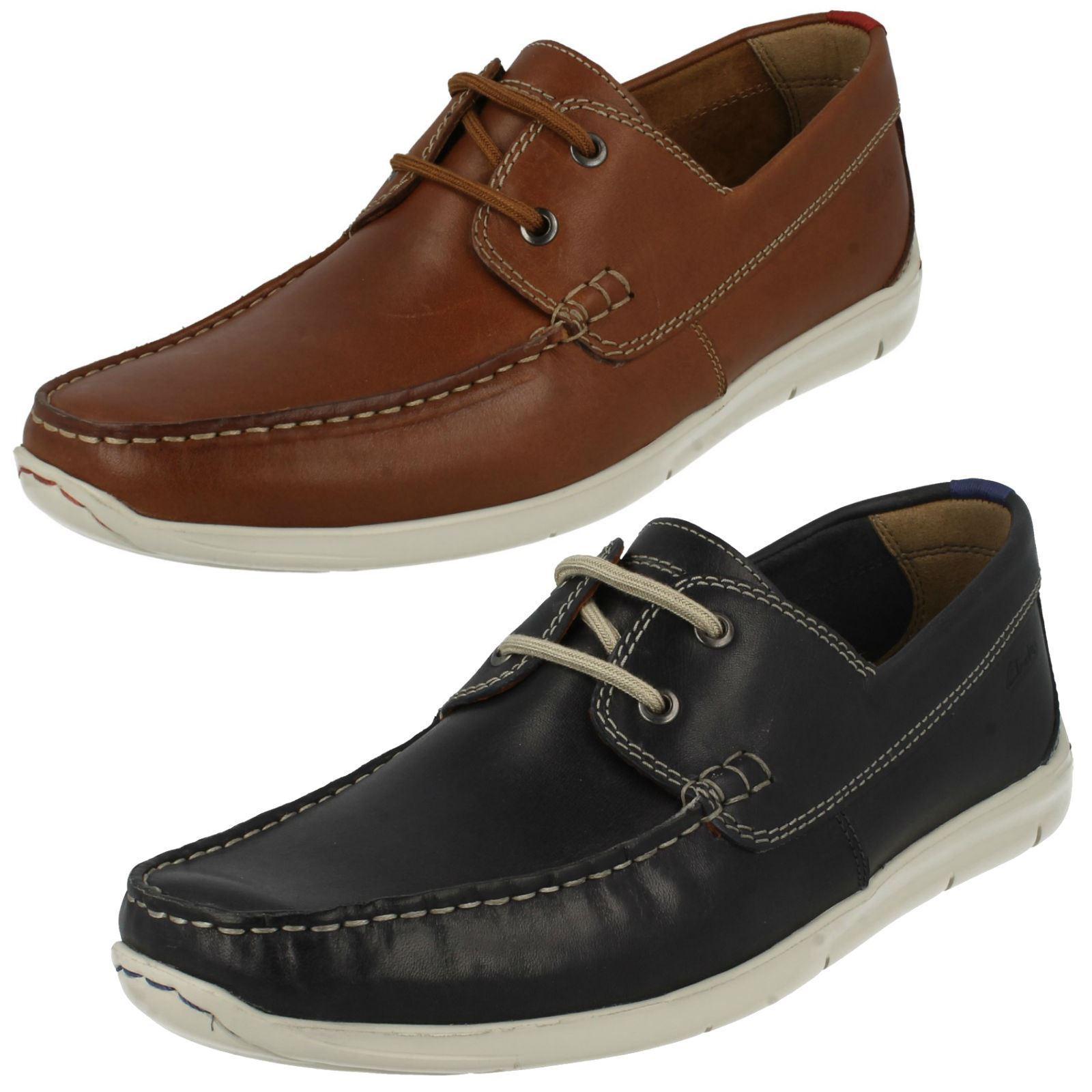 Para Cuero Hombre Clarks karlock paso Azul Marino o bronceado Cuero Para Casual lazada Zapatos ab43ab