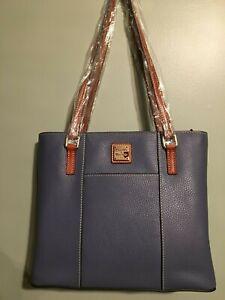 Dooney-and-Bourke-new-leather-steel-blue-Lexington-satchel-Women-039-s-fashion
