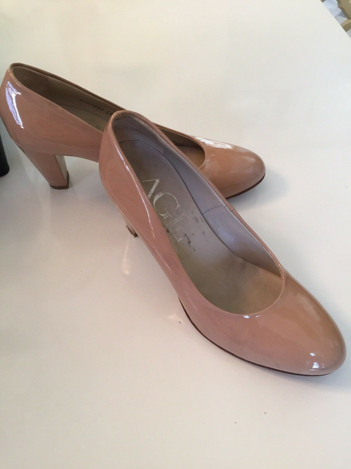 WOMEN'S  AGL 'Camel' PATENT LEATHER HEELS SIZE EUR 39 9 1/2 US 9 39 35820a