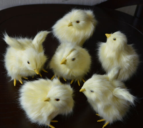 6pcs Realistic Furry Baby Chicks Lifelike Fur Animal Spring Easter Decor Chicken