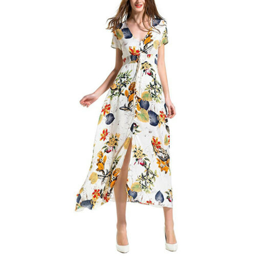 Women/'s Button Up V-neck Split Floral Boho Long Maxi Party Beach Holiday Dress