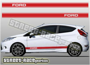 2x Decal sticker stripes kit For Ford fiesta rs body lowered graphics racing st