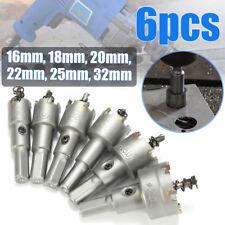6Pcs HSS Carbide Tip Drill Bit Hole Saw Cutter Set Metal Tungsten Steel 16-32mm