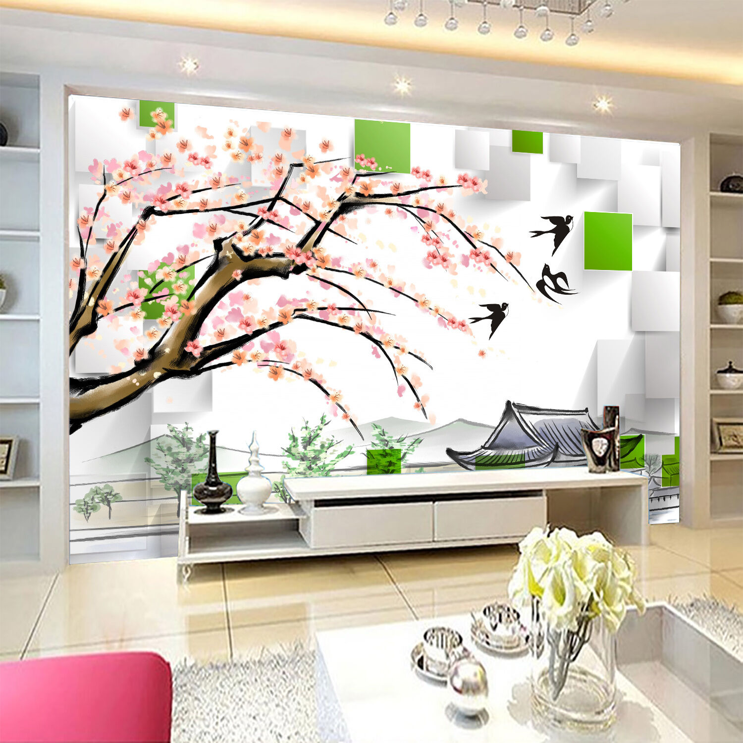 3D Tree, flower, swallow 35 Wall Paper Print Wall Decal Deco Indoor Wall Murals