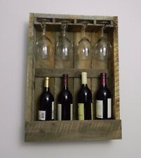 Handmade Wood Wine Rack with Glass Rack- Wall Mounted - Holds 4 Bottles -