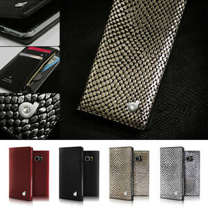detailed look 2d79f c93ab Details about Genuine Leather Swarovski Zip Wallet Flip Case Cover Samsung  Galaxy Note 5/S6/S7