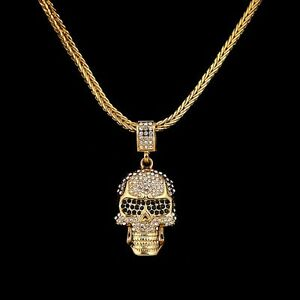 30 mens gold plated 5mm franco link chain cz crystal skull necklace image is loading 30 034 mens gold plated 5mm franco link mozeypictures Images