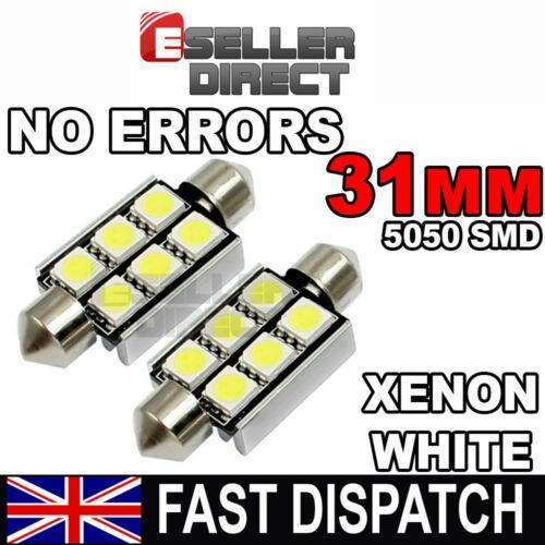 2 x 31mm 36mm 39mm 41mm 3 LED 6 LED 5050 SMD WHITE NO ERROR C5W FESTOON BULBS