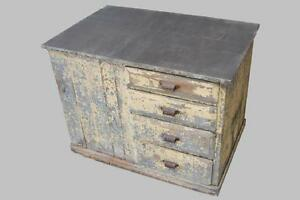 Image Is Loading Antique Zinc Top Farmhouse Cabinet Kitchen Island