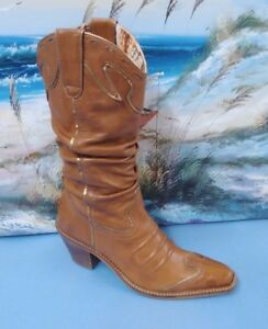26eb28c789d Details about Gianni Bini Brown Tan Slouchy Leather Cowboy Boots Western  Cowgirl Inlay Sz 6 M