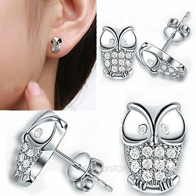 Women 925 Sterling Silver Swarovski Crystal OWL Ear Studs Earrings Jewelry MJPH