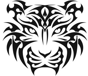 nr48 tribal tattoo tiger lion head decal vinyl sticker wall hood truck car ebay. Black Bedroom Furniture Sets. Home Design Ideas