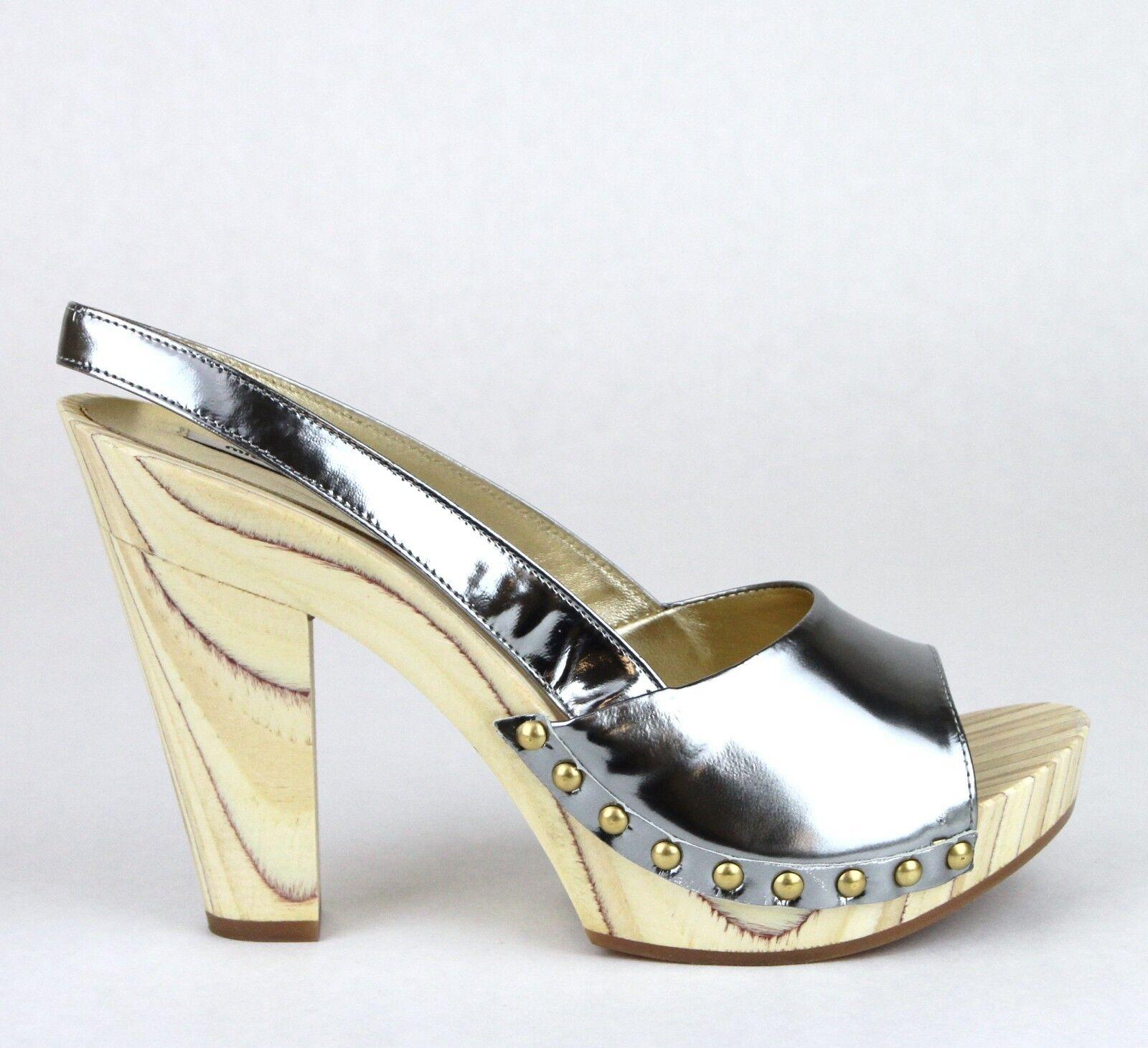 450 New Authentic MIU MIU Leather Platform Clog Studded Sandal Silver 5Z4723