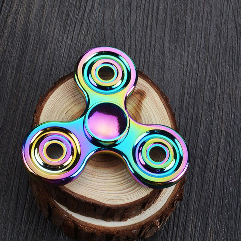 New Rainbow EDC Fidget Triangle Hand Spinner Metal ADHD Autism Focus Finger Toys