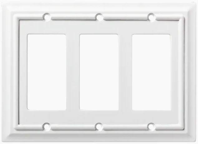 QTY 5 Brainerd Architectural 3 Gang Satin Nickel Triple Wall Plate 3974960