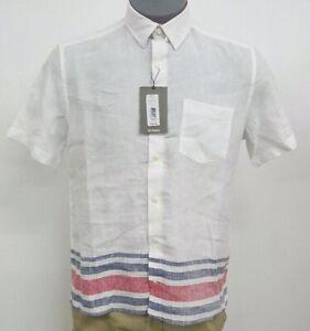 Murano-Baird-McNutt-Linen-White-Red-Blue-S-S-Men-039-s-Shirt-NWT-79-50-Choose-Size