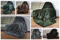 Sale Blanket / Throw Rabbit Fur Area Rug Genuine Sofa Cover Soft Bedspread