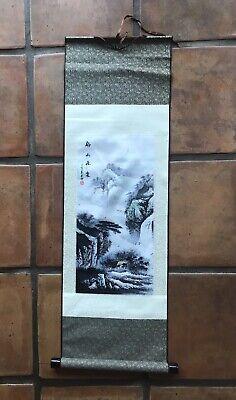 1 ORIENTAL RATTAN SCROLL #17 ~ ASIAN MOUNTAIN SCENE ~ GREAT WALL ~ Ratan Art