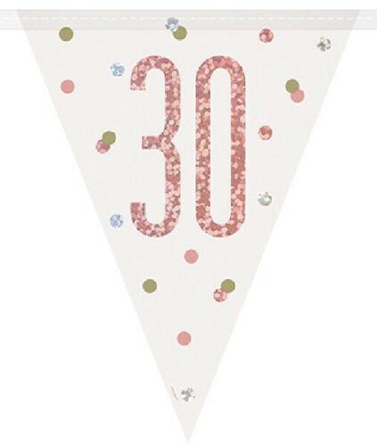 environ 2.74 m Or Rose Glitz 30 Drapeau Bannière Ladies 30th Fête D/'anniversaire Fanion Décoration 9 ft