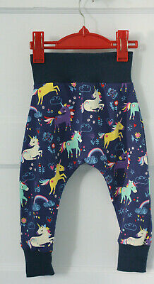 NEW Designer//Organic fabric Boys//Girls Harem Pants Age 0-3 months Unicorns Pink