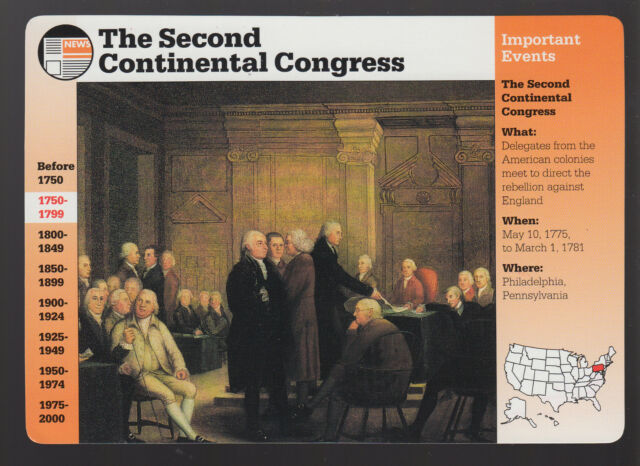 THE SECOND CONTINENTAL CONGRESS 1775-1781 GROLIER STORY OF AMERICA CARD CARD