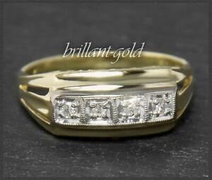 Diamant-Damen-Ring-aus-585-Gold-Lupenrein-amp-River-Diamanten-Antik-um-1930
