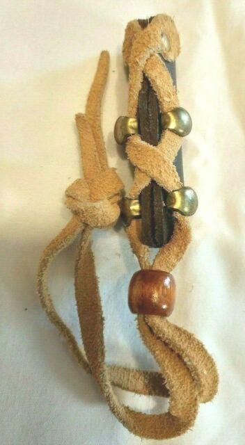 Leather Weave Pony Tail Holder Tie Brown 2.5