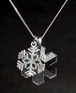 Silber-Hals-Kette-mit-Swarovski-Eis-Kristall-Eisblume-Silber-Schneeflocke-Etui
