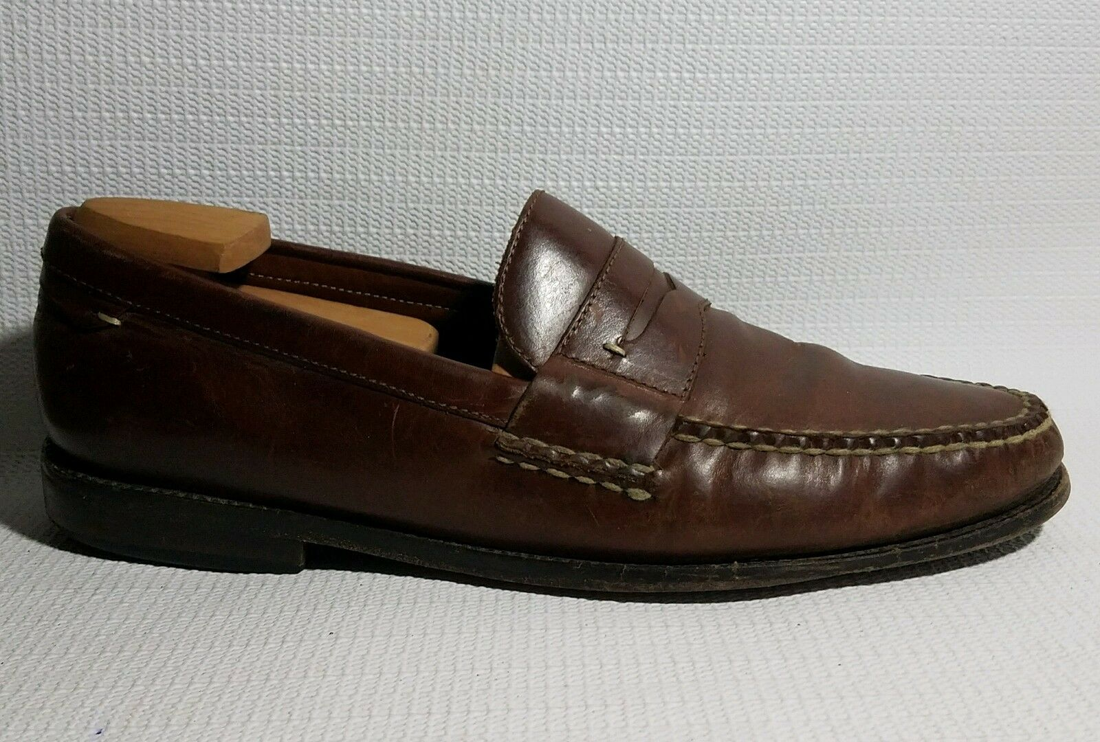 Johnston & Murphy Signature Series Brown Moc Toe Penny Loafer Leather Men 11.5 M