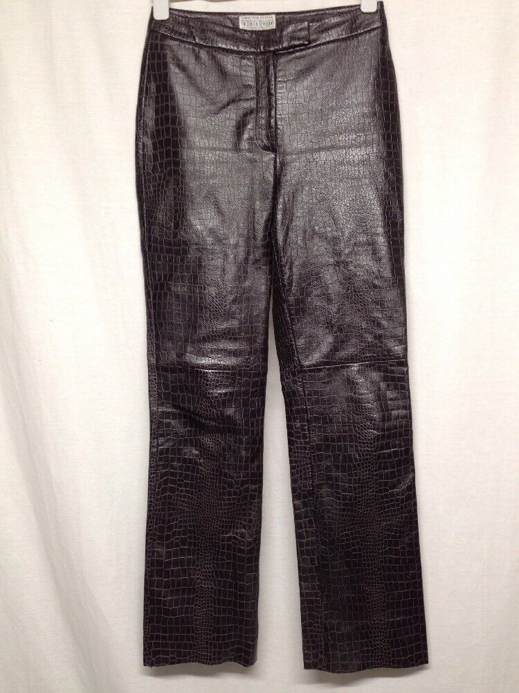 Saks Fifth Ave Folio Collection Women's Brown Leather Pants FLAWLESS Size 6  Z10