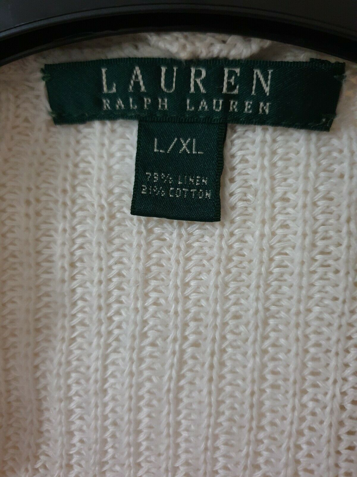 Lauren By Ralph Lauren White White White Womens L XL 3 4 sleeved Cardigan , in excellent con 28db07
