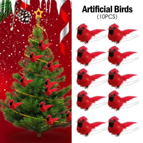 10Pack Clip-on Artificial Red Cardinals Christmas Ornaments Feathered Bird Xmas