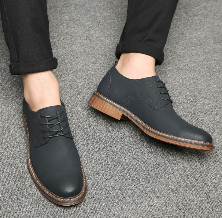 Mens British Retro Pure color Lace Up Wing Tip Oxfords Casual Business shoes @BT
