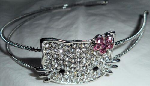 HAPACHICO LUPITA Hello Kitty Cat Headband Rhinestone Black Pink Silver Metal