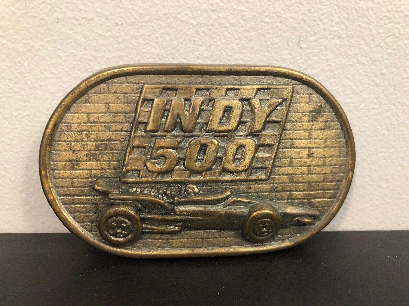 Brass Indy 500 Belt Buckle Race Racing Car Design 3 1/2