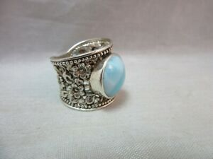 Sterling-silver-Larimar-blue-agate-Cigar-Band-style-ring-Size-7