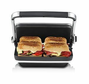 Sunbeam-GR8450B-Cafe-Press-Brushed-with-Flat-Cooking-Plates-amp-Cheese-Melt