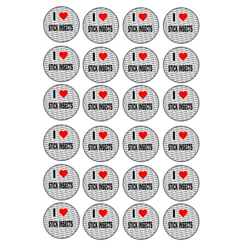 I Love Stick Insects 24 Stickers Craft Reward Party Bag Stocking Fillers