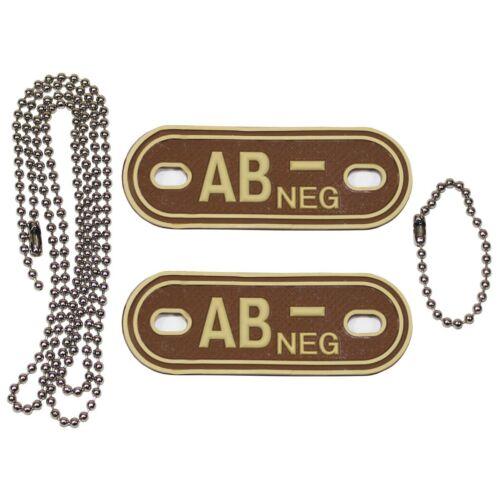 3D BLUTGRUPPE MARKE mit Kette Erkennungsmarke Halskette Anhänger Dog Tag MFH