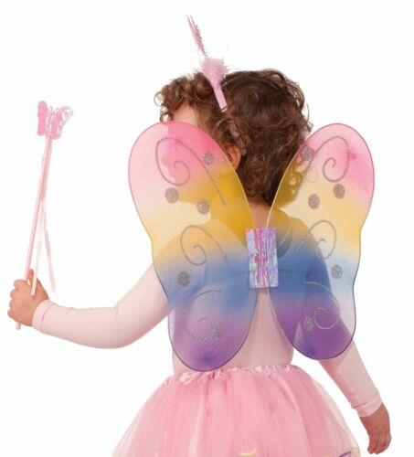Fantasy Dress Up Fairy Butterfly Wings Wand Headband Kit Girls Costume Accessory