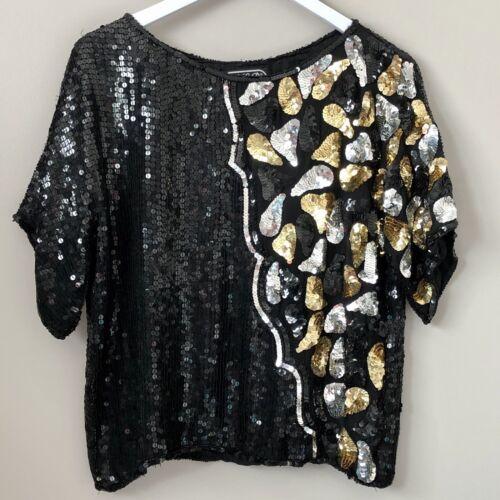 the Paris blouse medium vintage black and gold sequin top