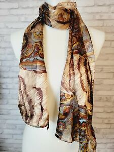 Adrienne Vittadini scarf semi-sheer silk paisley and animal print oblong w/ tags